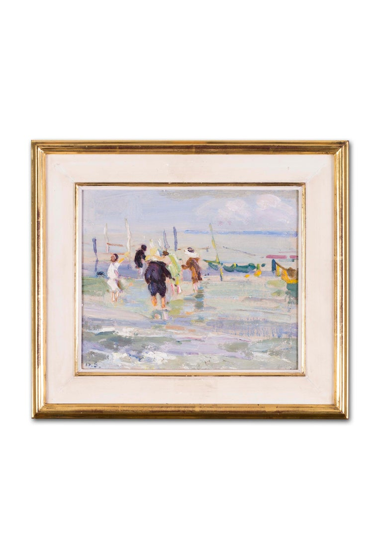 British, Impressionist oil painting by Dorothea Sharp of children on a beach For Sale 4
