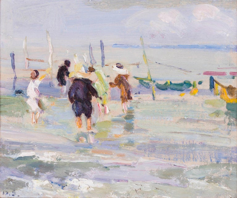 British, Impressionist oil painting by Dorothea Sharp of children on a beach For Sale 6