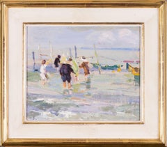British, Impressionist oil painting by Dorothea Sharp of children on a beach