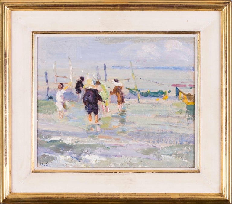 Dorothea Sharpe ROI RBA (British, 1874 – 1955) Summer days Signed with monogram 'D.S.' (lower left) Oil on canvas board  7.3/8 x 8.7/8 in. (18.8 x 22.5 cm.)  Born in Dartford, Kent, Dorothea Sharpe attended Richmond Art school and then Regency