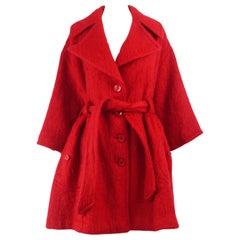 Dorothée Bis 1980s Red Mohair & Wool Vintage Women's Oversized Swing Coat