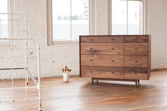 Dorothy Bureau, Modern Walnut Chest of Drawers with Turned Legs and Shaped Pulls