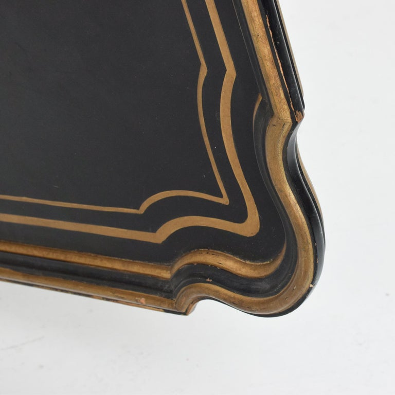 Dorothy Draper Black Coffee Table Top Gold Scallop Trim 1950s Hollywood Regency For Sale 3