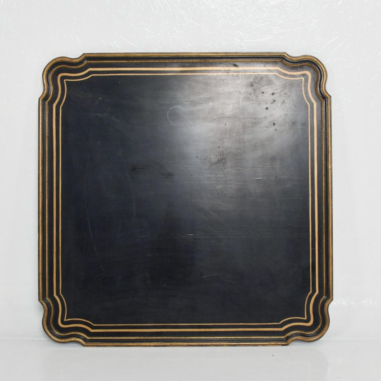 Dorothy Draper Hollywoodregency painted black wood coffee table top - tray with Classic gold Scallop Trim circa 1950s. By Baker Co. Measures: 37.75