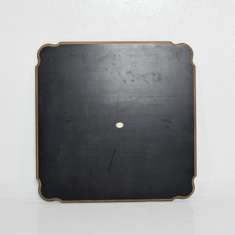 Wood Dorothy Draper Black Coffee Table Top Gold Scallop Trim 1950s Hollywood Regency For Sale