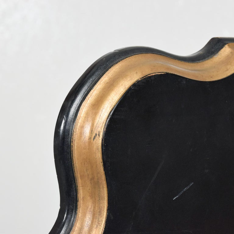 Dorothy Draper Black Coffee Table Top Gold Scallop Trim 1950s Hollywood Regency For Sale 1