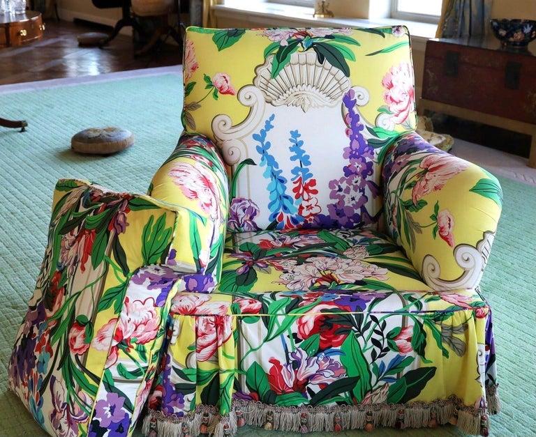American Dorothy Draper Hollywood Regency Armchair Pair, Carleton Varney, Down-Filled  For Sale