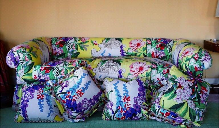 20th Century Dorothy Draper Hollywood Regency Baroque Bouquet Sofa, Carleton Varney, Downfill For Sale