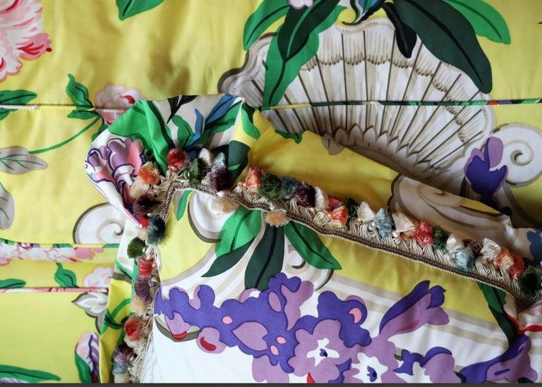 Textile Dorothy Draper Hollywood Regency Baroque Bouquet Sofa, Carleton Varney, Downfill For Sale