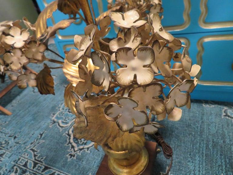 Italian Dorothy Draper Style Gilt Gold Tole Hydrangea Lamp Hollywood Regency For Sale