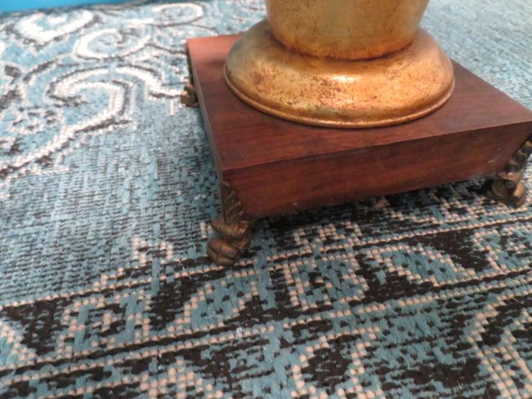 Mid-20th Century Dorothy Draper Style Gilt Gold Tole Hydrangea Lamp Hollywood Regency For Sale