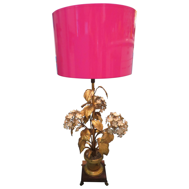 Dorothy Draper Style Gilt Gold Tole Hydrangea Lamp Hollywood Regency