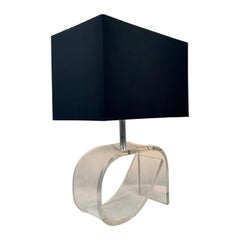 Lucite Lamp in the style of Dorothy Draper with Black Shade, c. 1960's