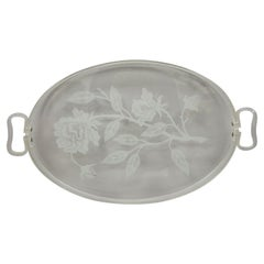 Dorothy Draper Style Mid Century Floral Etched Glass Lucite Serving Tray Platter