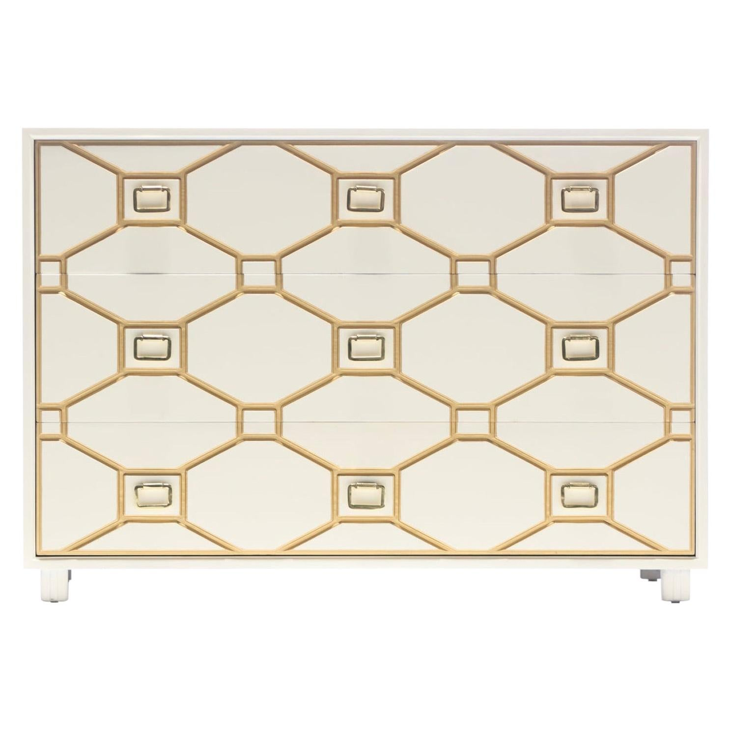 Dorothy Draper Viennese Collection Ivory Chest with Gold Incised Drawers