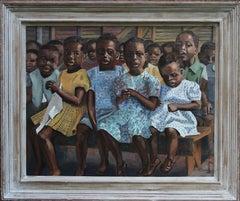 Tomorrow's Africa - British exhibited art 50's oil painting children's portrait