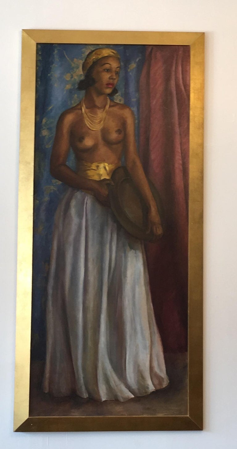 Dorothy Hart Drew African American Nude Woman Standing Oil Painting In Good Condition For Sale In Chicago, IL