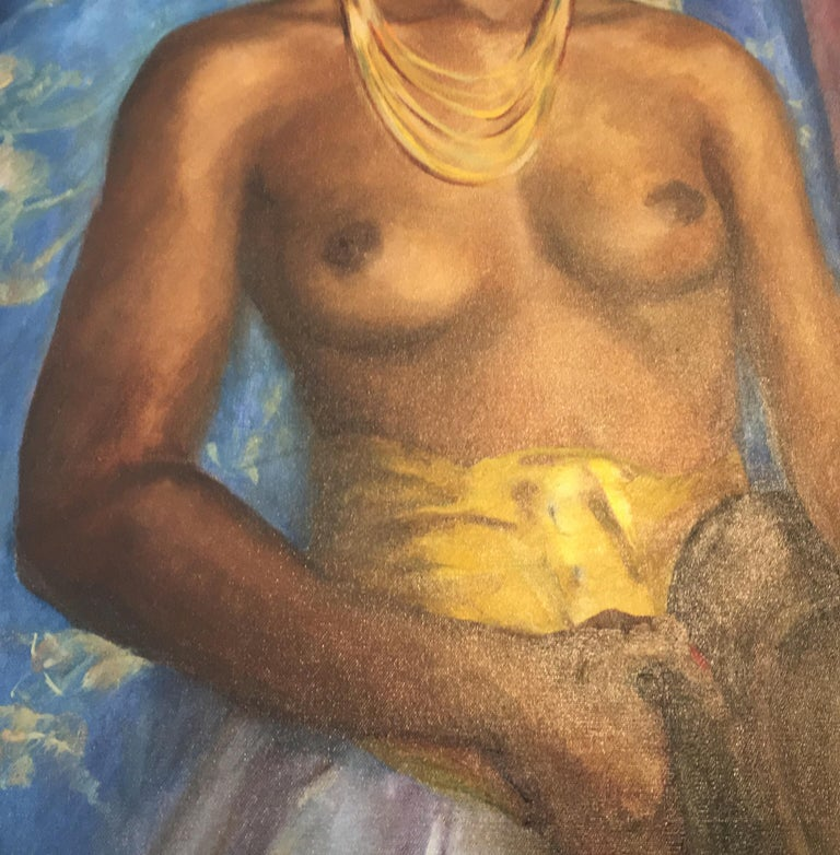 Mid-20th Century Dorothy Hart Drew African American Nude Woman Standing Oil Painting For Sale