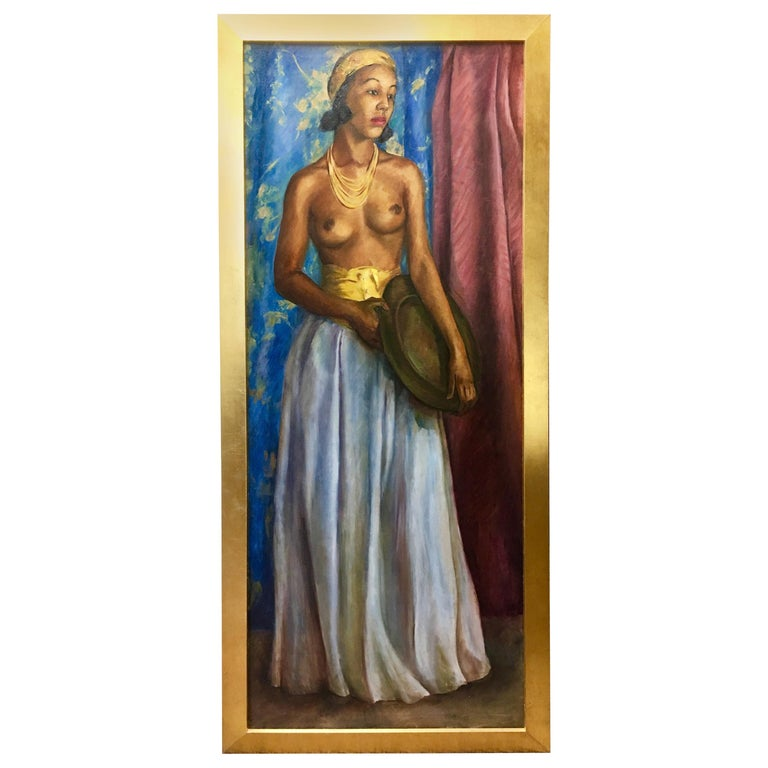Dorothy Hart Drew African American Nude Woman Standing Oil Painting For Sale