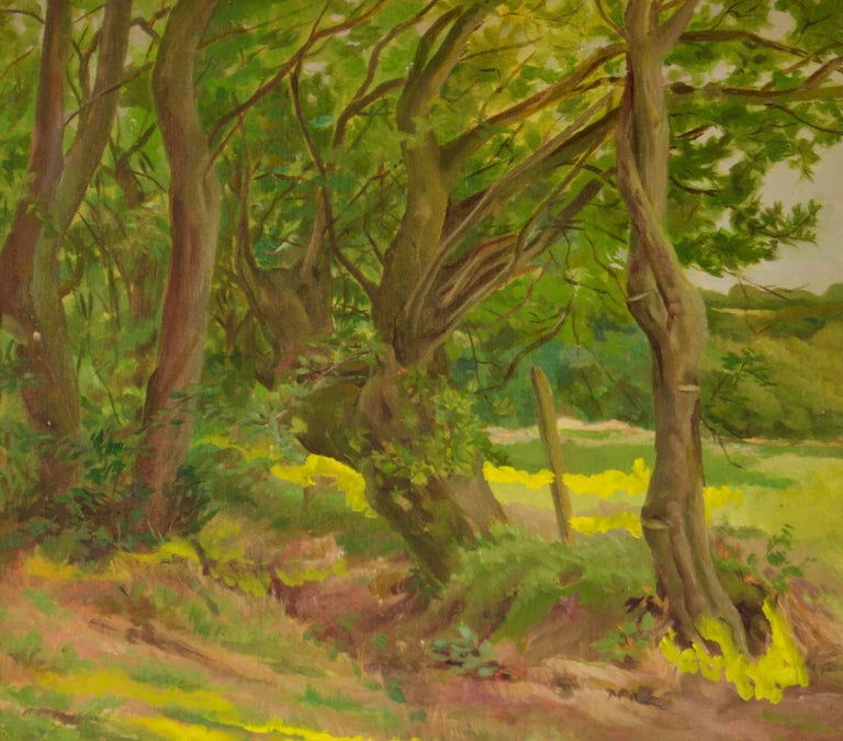 Into the Forest - Mid 20th Century Impressionist Oil Landscape by Dorothy King For Sale 1
