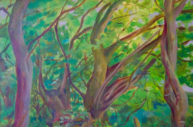 Into the Forest - Mid 20th Century Impressionist Oil Landscape by Dorothy King For Sale 2
