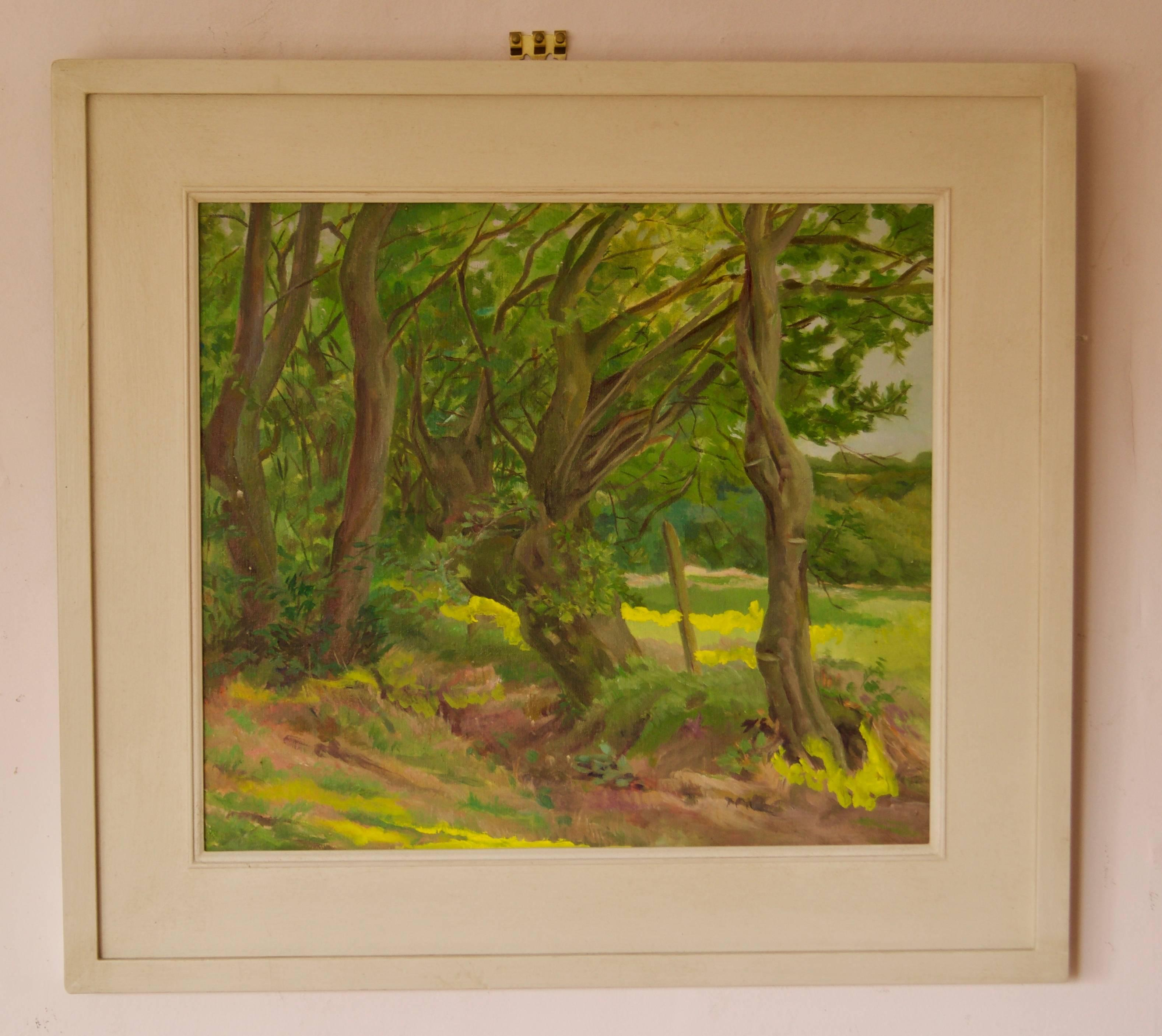 Into the Forest - Mid 20th Century Impressionist Oil Landscape by Dorothy King