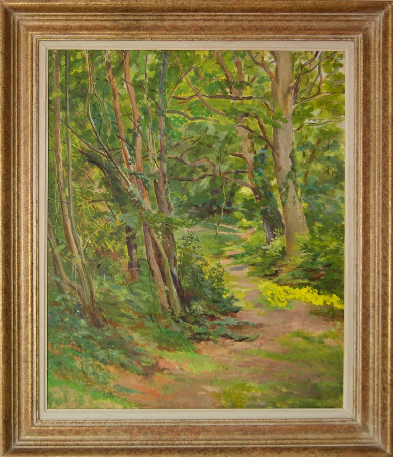 Spring Wooden Landscape - Mid 20th Century Impressionist Oil by Dorothy King For Sale 1