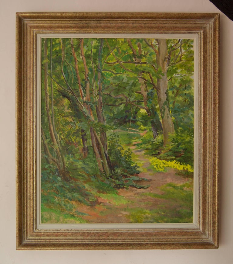 Spring Wooden Landscape - Mid 20th Century Impressionist Oil by Dorothy King For Sale 2