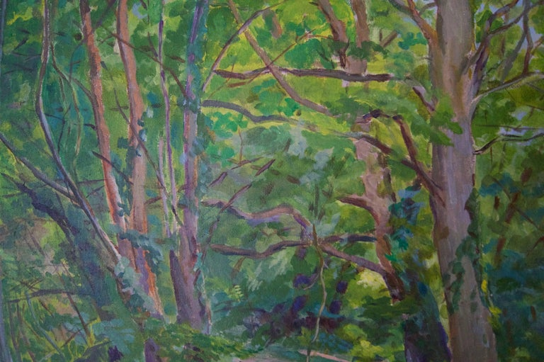 Spring Wooden Landscape - Mid 20th Century Impressionist Oil by Dorothy King For Sale 3