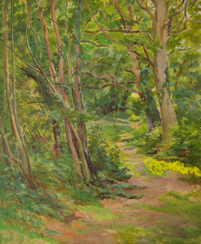 Spring Wooden Landscape - Dorothy King (1907-1990)  Dorothy King was born and lived in London in 1907. She studied at the Hornsey School of Art under JC Moody, then briefly at the Slade School of Fine Art with Randolph Schwabe. She took up painting