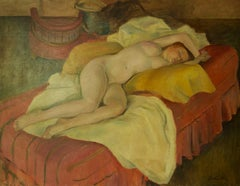 The Model Asleep - Mid 20th Century Nude Still Life Oil Painting by Dorothy King
