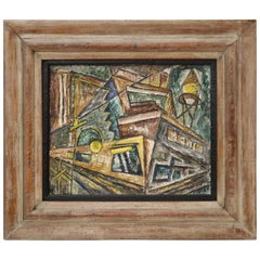 "Dorothy Stafford ""Factory Corner"" American Cubist Oil on Canvas Painting"