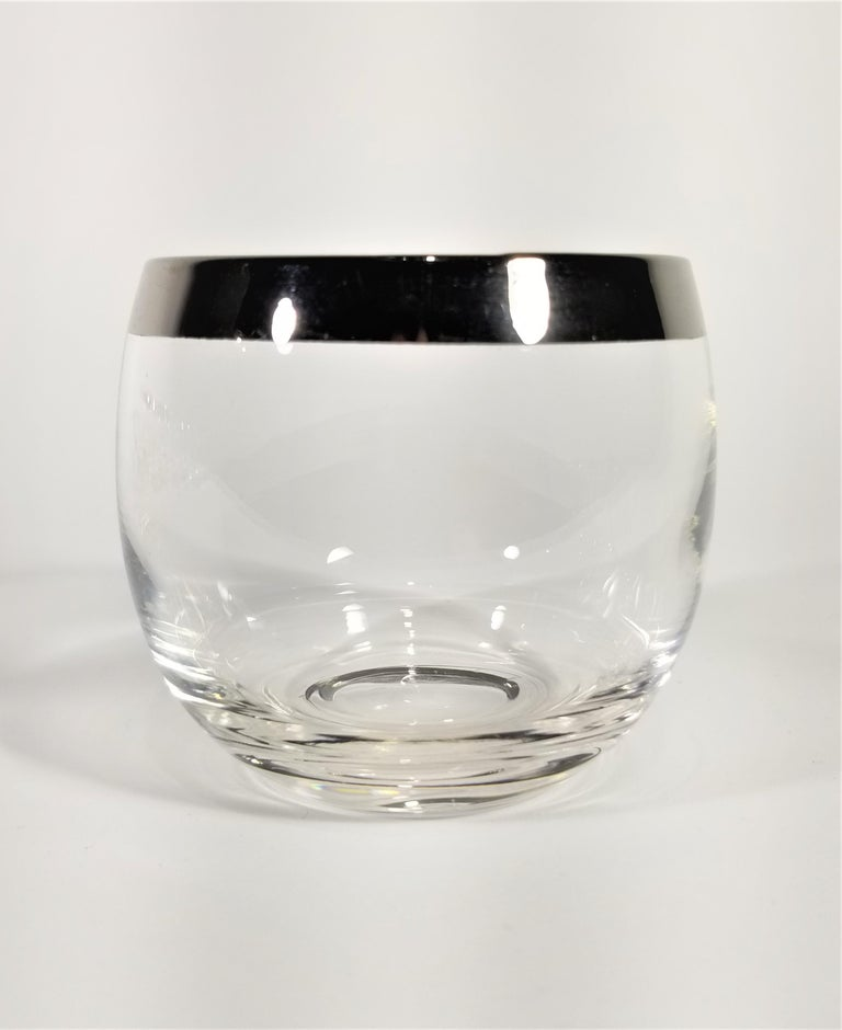 20th Century Dorothy Thorpe 1960s Midcentury Silver Rimmed Glassware Barware Set of 10 For Sale