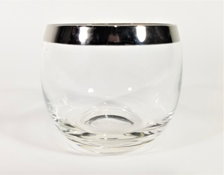 Dorothy Thorpe 1960s Midcentury Silver Rimmed Glassware Barware Set of 10 For Sale 1
