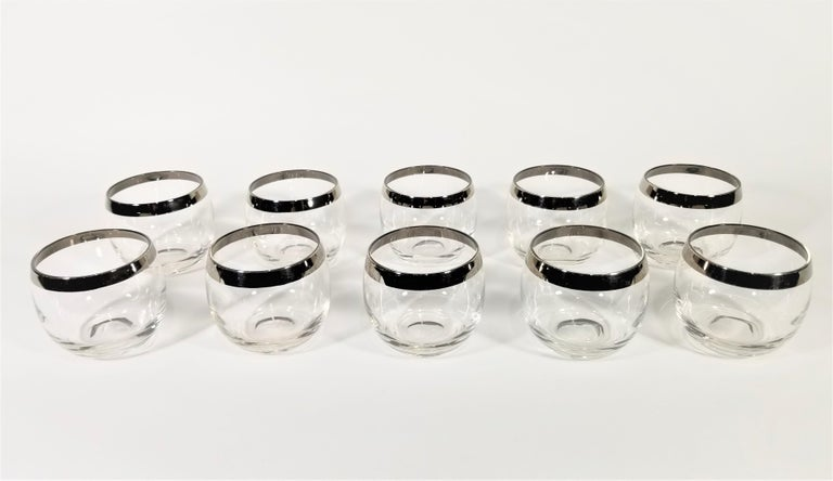 Dorothy Thorpe 1960s Midcentury Silver Rimmed Glassware Barware Set of 10 For Sale 5