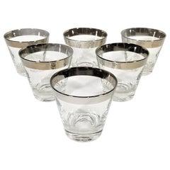 Dorothy Thorpe 1960s Midcentury Silver Rimmed Glassware Barware Set of 6