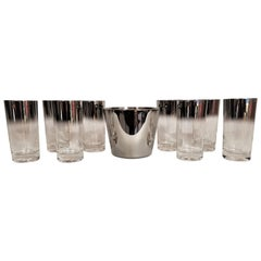 Dorothy Thorpe Glassware Barware Set of 8 with Ice Bucket Midcentury