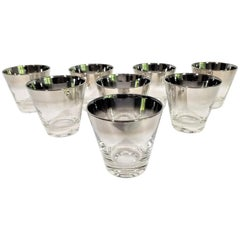 Dorothy Thorpe Glassware with Silver Fade Midcentury Set of 8