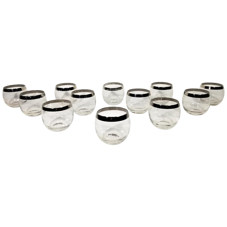 Dorothy Thorpe Midcentury 1960s Silver Rimmed Glassware Barware, Set of 12