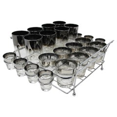 Dorothy Thorpe Midcentury Silver Fade Cocktail Glasses Barware Set of 24 Pieces