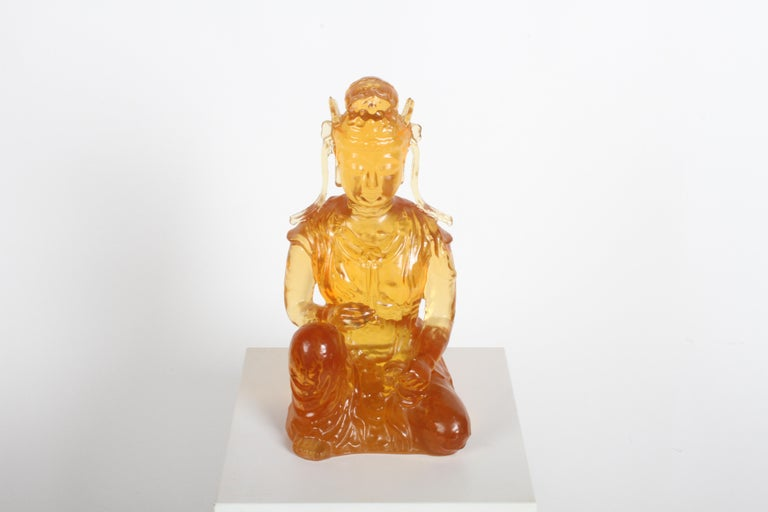 Beautiful Dorothy Thorpe cast resin amber Buddha or Guanyin, circa 1960s. Unmarked, but 100% Thorpe.