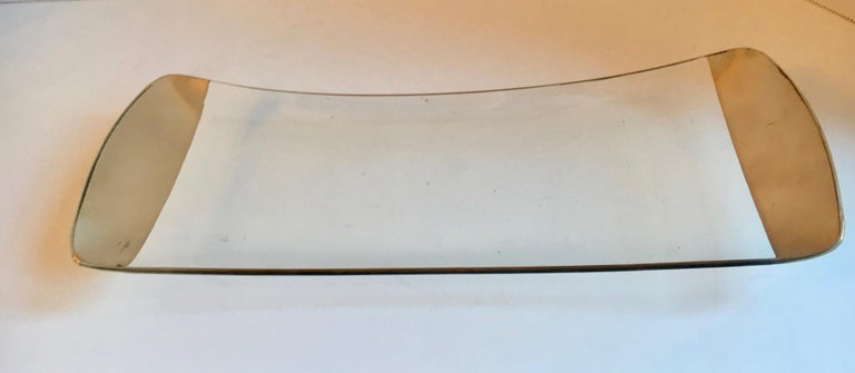 Dorothy Thorpe Silver and Glass Platter Tray In Good Condition For Sale In Los Angeles, CA