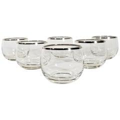 Dorothy Thorpe Silver Rimmed Glassware Barware Set of 6 Midcentury