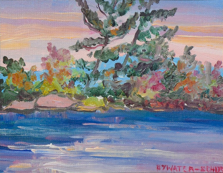 Colorful Mid-Century Riverside Landscape - Painting by Dorothy Violet Bywater-Schust