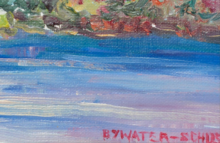 Colorful Mid-Century Riverside Landscape - American Impressionist Painting by Dorothy Violet Bywater-Schust