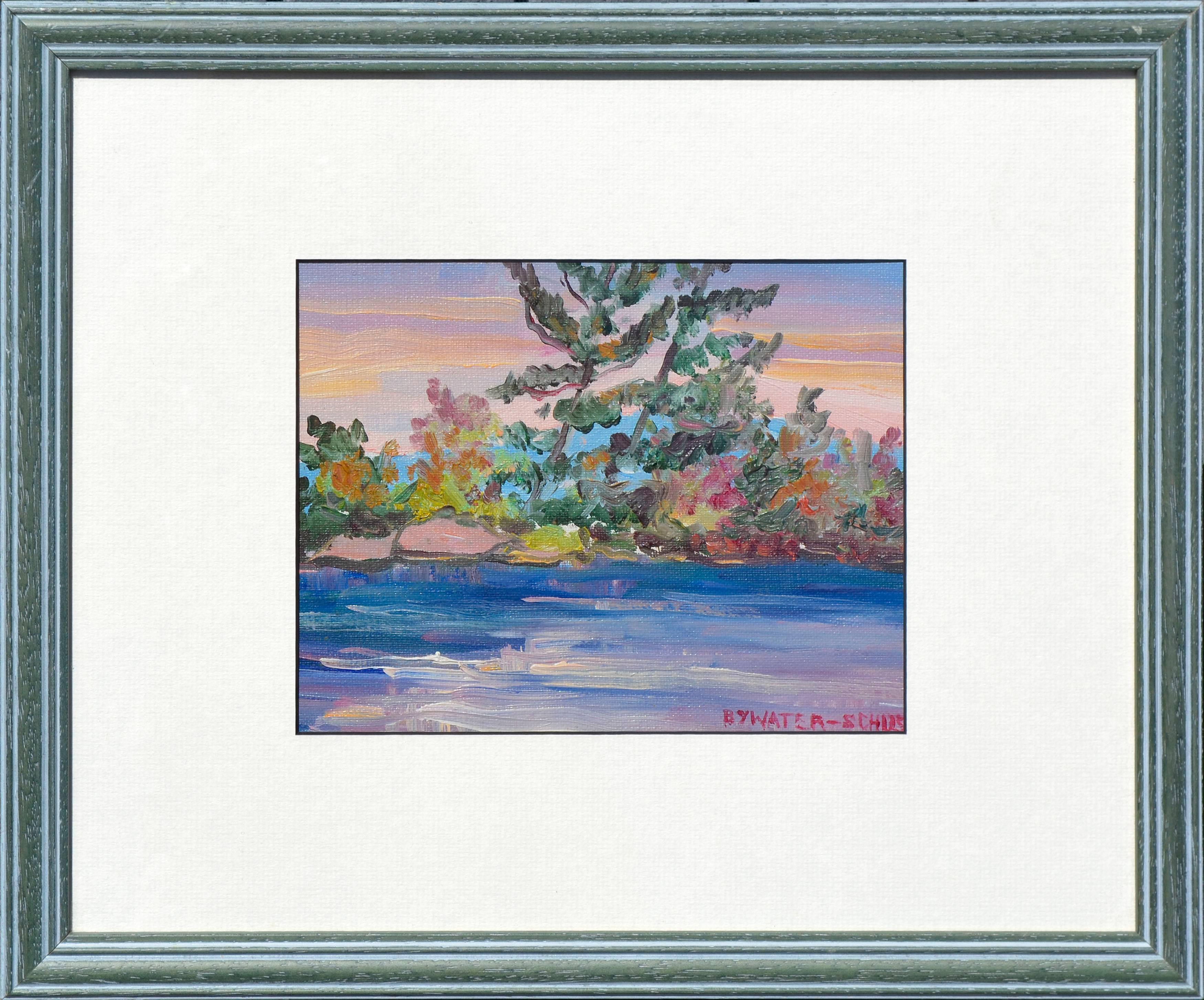 Colorful Mid-Century Riverside Landscape