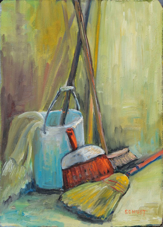 Dorothy Violet Bywater-Schust  Still-Life Painting - Domestic Tools - Modern Still-Life