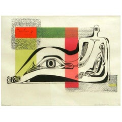 "Dorr Bothwell, California Surrealist, Serigraph Titled ""Ideograph"""