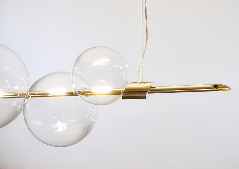 Minimalist Dòry Contemporary Handmade Chandelier Brass, Blown Glass, Dimmable LED Light For Sale