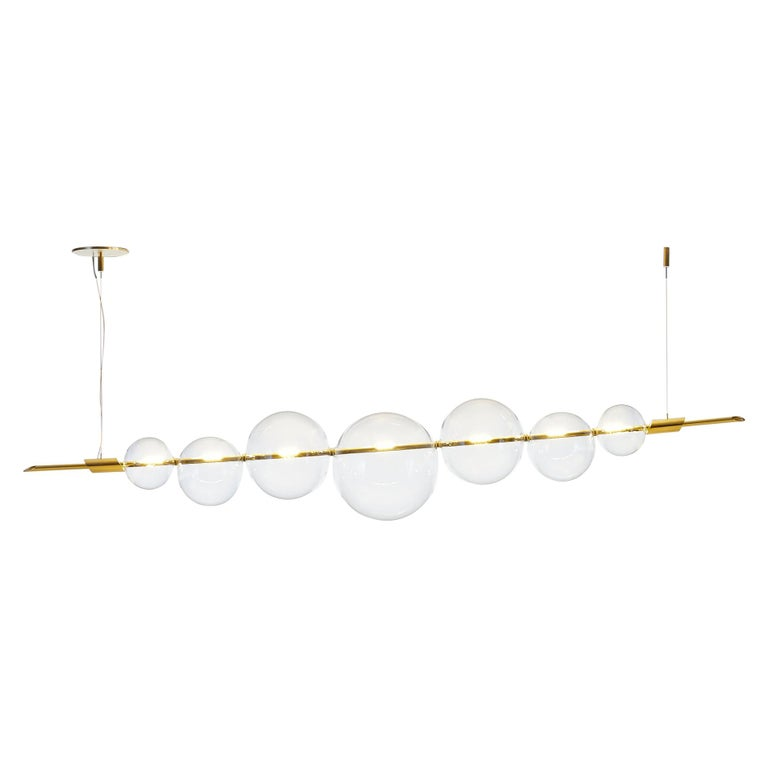 Dòry Contemporary Handmade Chandelier Brass, Blown Glass, LED Light, Dimmable For Sale
